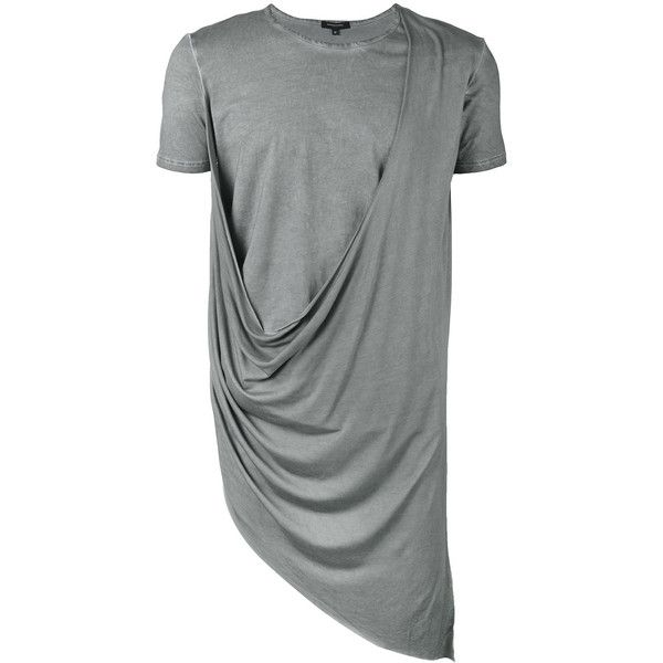 Unconditional Asymmetric Draped Double Front T-shirt ($141) ❤ liked on Polyvore featuring men's fashion, men's clothing, men's shirts, men's t-shirts, mens short sleeve t shirts, mens gray dress shirt, mens loose fit swim shirt, mens base layer shirts and mens asymmetrical shirt