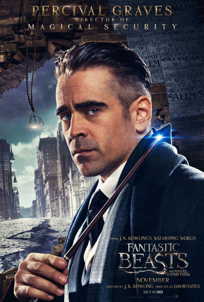 Colin Farrell as Percival Graves in the official character poster for Fantastic Beasts and Where to Find Them (2016).