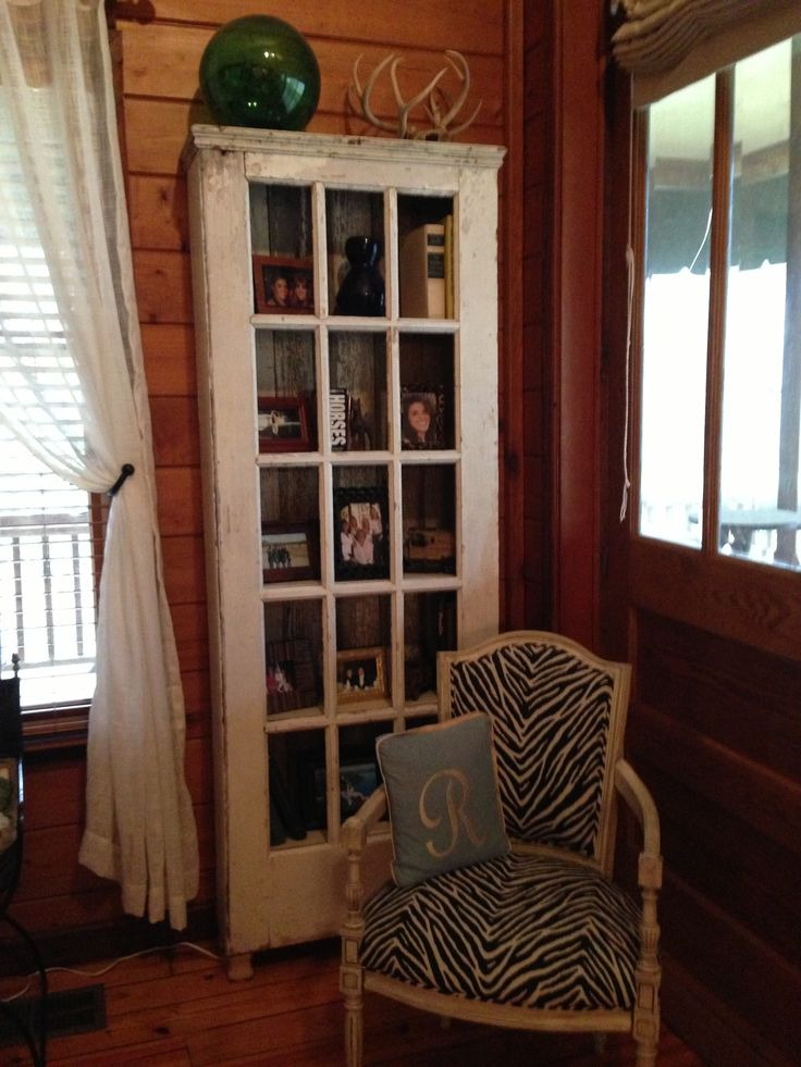 Old French door book shelf  DIY projects for the home  Home decor Farmhouse decor Old