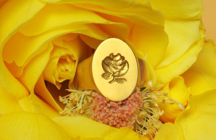Rosa - Colecao Arte Real da Natureza - Anel Sinete