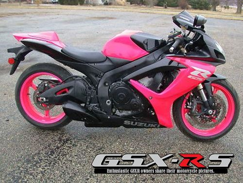 Pink and Black 2007 GSXR 600. Want. Exchange the pink for either white, silver, blue, green, or orange!