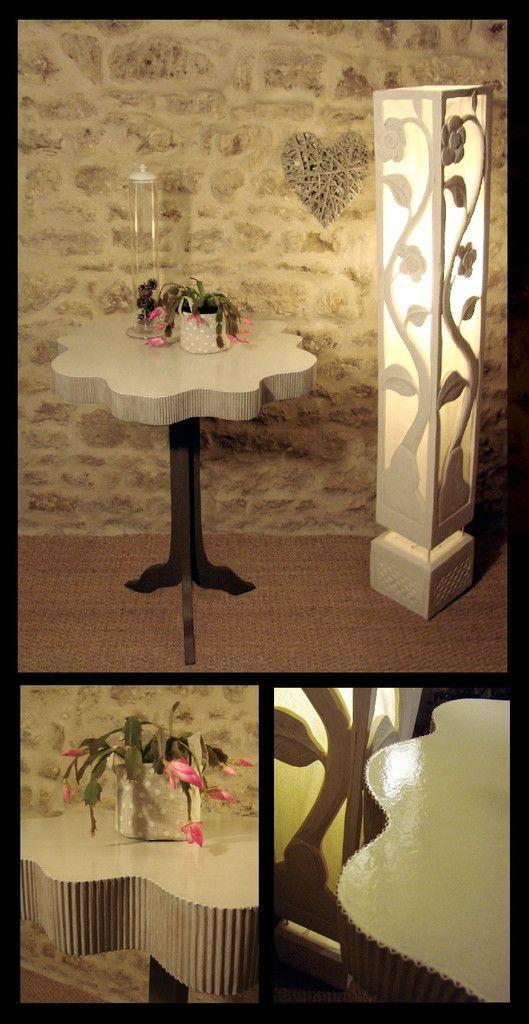Petite table de 80cm de haut, diametre 60cm. Réalisation 15h + finition peinture Célèse Déco. 200€