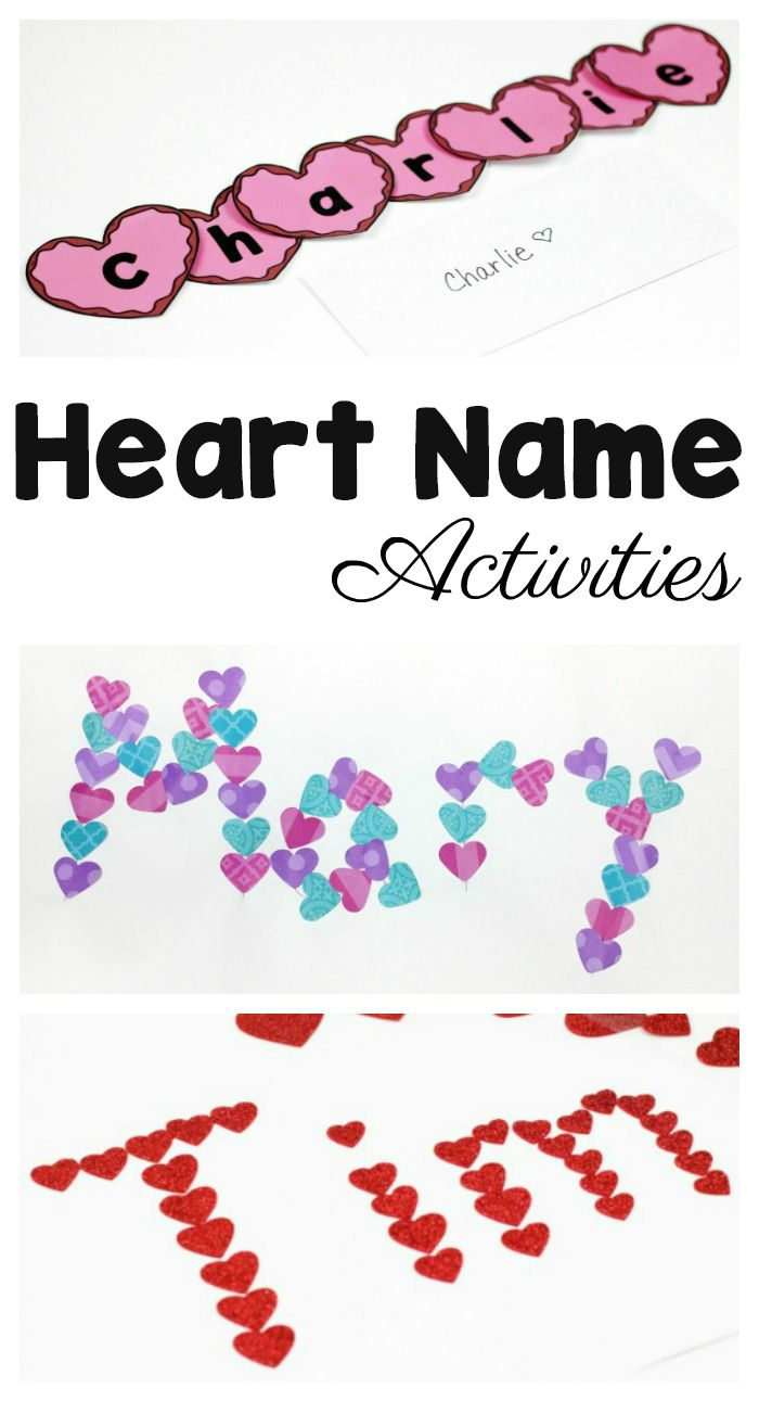 """3 Heart Name Crafts for Preschoolers To Make This Valentine SHARED BY MARY CATHERINE 'm often asked about how to teach young children letters, especially since disagree with using """"letter of the week"""".  To answer that question, I always reference using hands-on, engaging activities and real experiences. And I always, always, always suggest starting with children's names. Why use the kids' names to teach? Because kids' names are important to them. Which makes total and complete sense"""