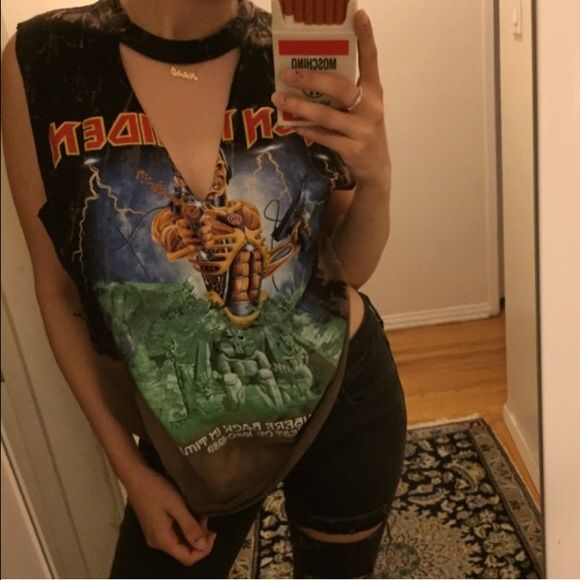 Iron maiden bleached cut out Bleached cut out tee made by me LF Tops Tees - Short Sleeve