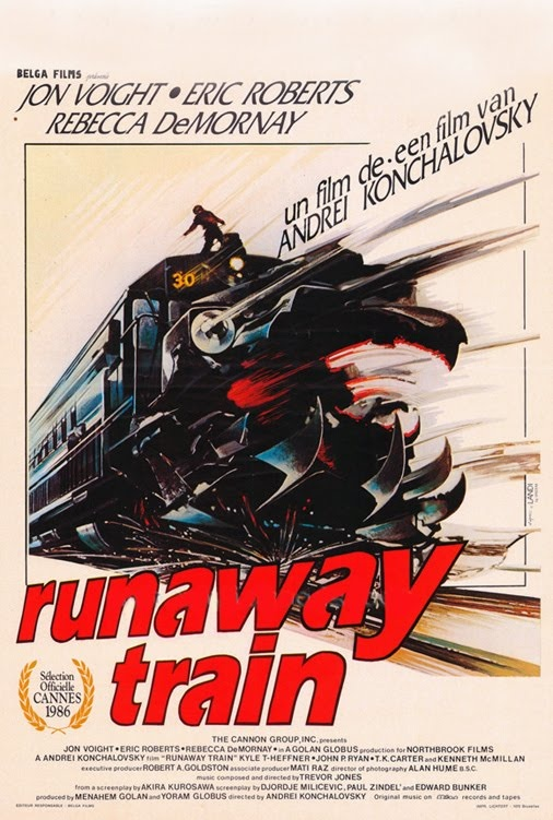 """Runaway Train / El tren del infierno"" (1985) Andrei Konchalovsky, USA. Two escaped convicts and a female railway worker find themselves trapped on a train with no brakes and nobody driving."