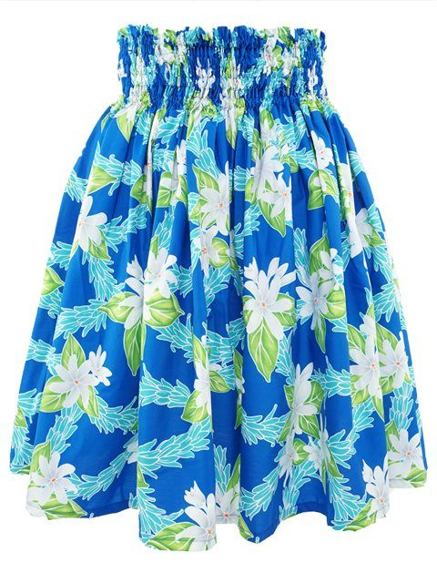 Slight Plumeria Lei Blue Poly Cotton Single Pau Skirt