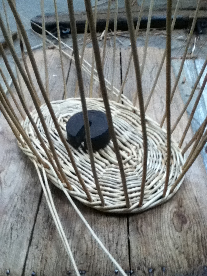 2 of 10 - washing basket being made - uprights in place and wale being woven
