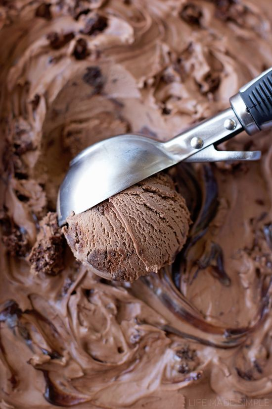 For extreme chocolate lovers only! This rich, decadent brownie fudge swirl ice cream is loaded with brownie chunks and swirled with hot fudge!