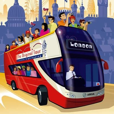 Original London Sightseeing Tour Hop On Hop Off. 17-19 Cockspur Street, Trafalgar Square, London SW1Y. Mon-Sat 8:30-6. Sun 9-5:30. Buses run every 15 minutes, pick up tickets at office. Discount with LP. (pg137)