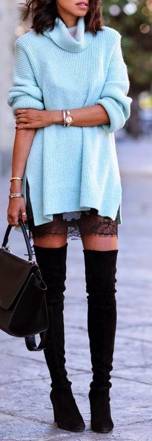 Amei essa estilo romantico que a renda trouxe para o look. Podemos utilizar no lugar do trico, uma jaqueta ou blazer.