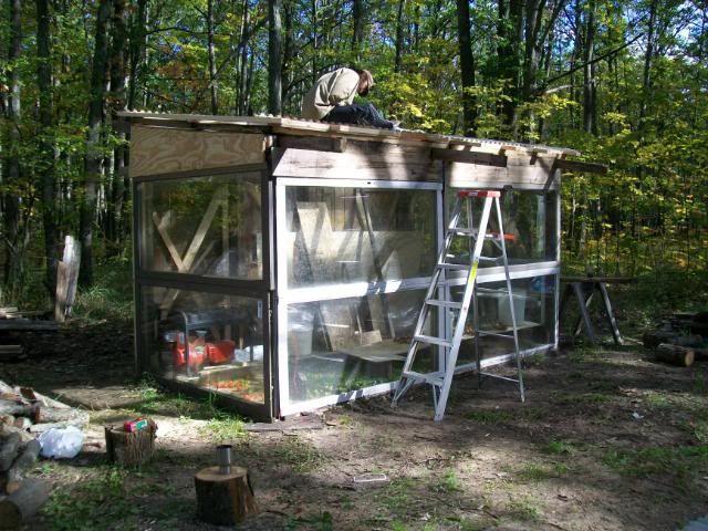 Reused sliding glass door greenhouse garden pinterest for Sliding glass doors garden
