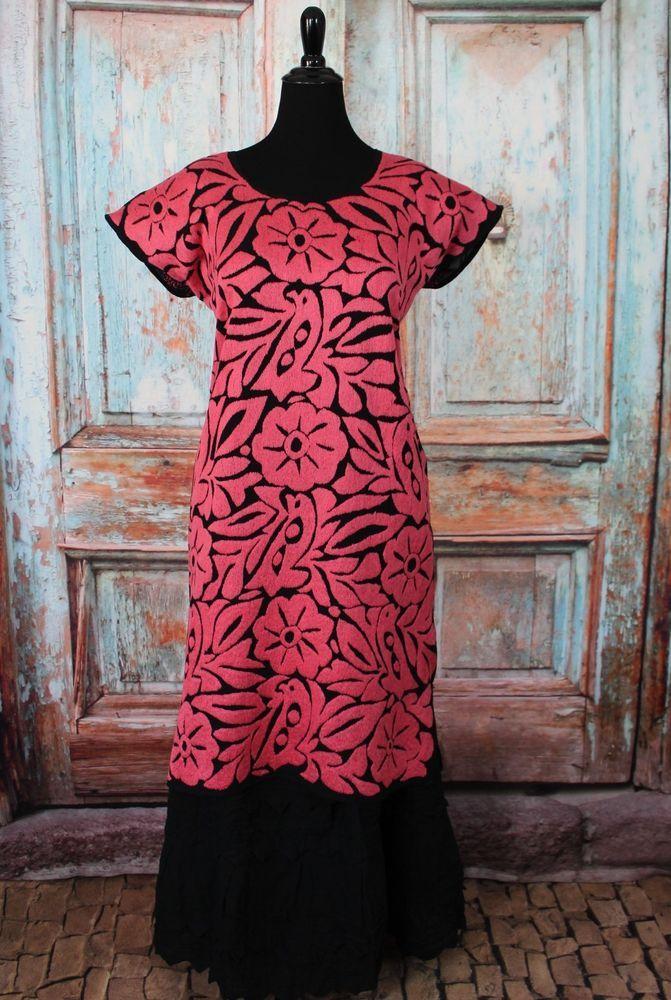 Pink & Black Hand Embroidered Huipil Dress Jalapa Oaxaca ...