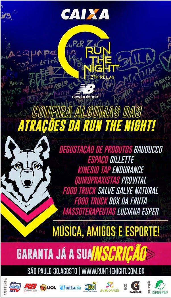 A RUN THE NIGHT é o PRIMEIRO revezamento 21k noturno do Brasil, com uma nova experiência em corridas noturnas: um ambiente lúdico, música de primeira, entretenimento e muitos amigos. http://corridasdomarcus.blogspot.com.br/