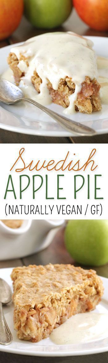 Swedish Apple Pie (gluten-free, vegan, dairy-free, 100% whole grain) Sub with egg replacement and soy milk.
