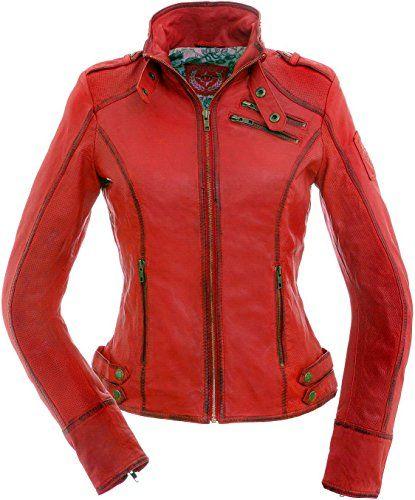 femmes veste en cuir de couleur rouge - Veste Colore Femme