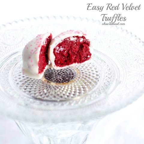 3 Ingredient Red Velvet Truffles --- cake mix, powdered sugar, cream cheese (plus white chocolate for dipping) EASY