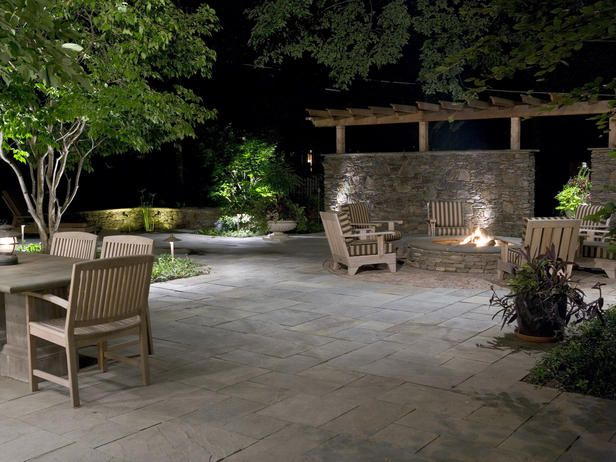 Patio stone + stone wall: Privacy Wall, Stones Wall,  Terraces, Backyard Living, Outdoor Fireplaces, Outdoor Spaces, Firepit, Stones Patio, Fire Pit