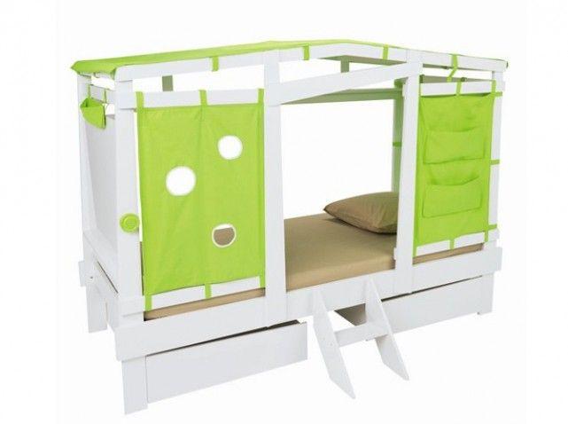 Lit cabane alinea d co chambre enfant pinterest lit cabane alin a et lits - Rideaux pour lit cabane ...