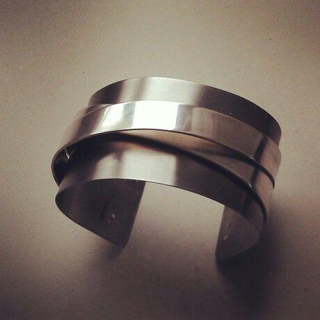 Titaan armband met zilveren bandjes