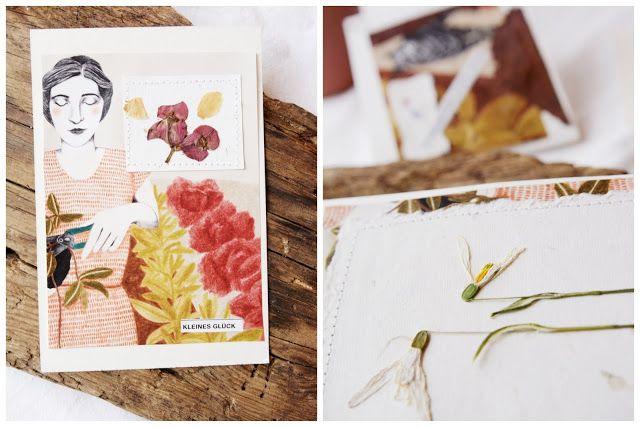 Titantina's Ideen: Upcycling: Karten aus alten Zeitschriften und Blüten