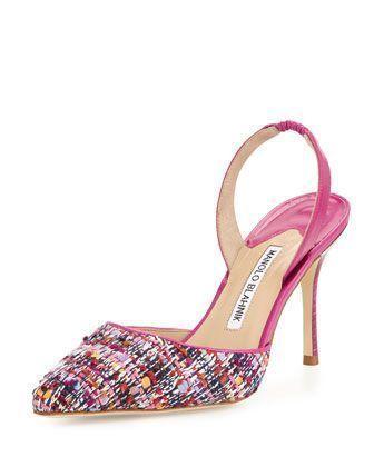 Carolyne+90mm+Tweed+Halter+Pump,+Red/Pink+by+Manolo+Blahnik+at+Bergdorf+Goodman. #manoloblahnikheelsbergdorfgoodman