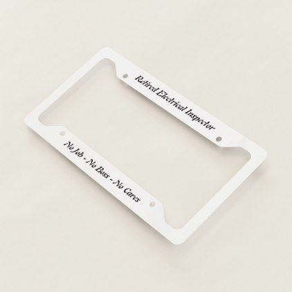 Retired Electrical Inspector License Plate Frame - fun gifts funny diy customize personal