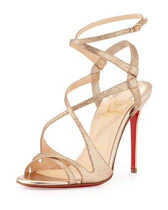 Audrey Strappy Glitter Red Sole Sandal, Poudre by Christian Louboutin at Neiman Marcus.