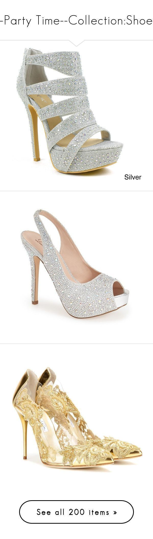 """""""--Party Time--Collection:Shoes"""" by sabristyles22 ❤ liked on Polyvore featuring shoes, pumps, heels, sandals, silver, rhinestone heel pumps, platform pumps, glitter pumps, prom shoes and dress pumps #promshoespumps #platformpumpsglitter"""