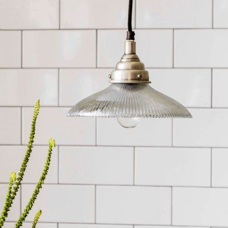 Penny ribbed clear glass pendant light