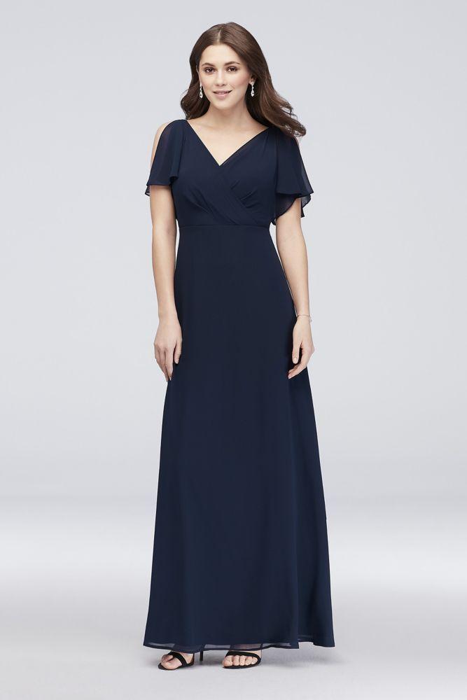 824479c86a5 10990800 - Split-Sleeve Chiffon Surplice Bridesmaid Dress