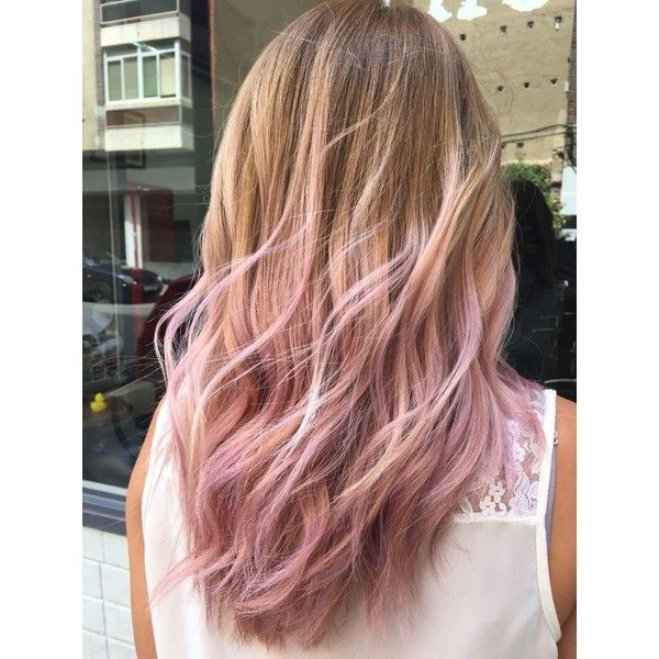 Pink hair highlights ❤ liked on Polyvore featuring beauty products and haircare
