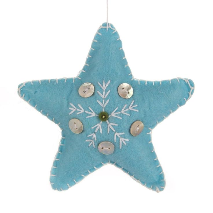 Nice felt Christmas ornament in the shape of a star. The star is ice blue, decorated with buttons, 11 cm. Handmade, every item is unique | It's all about Christmas