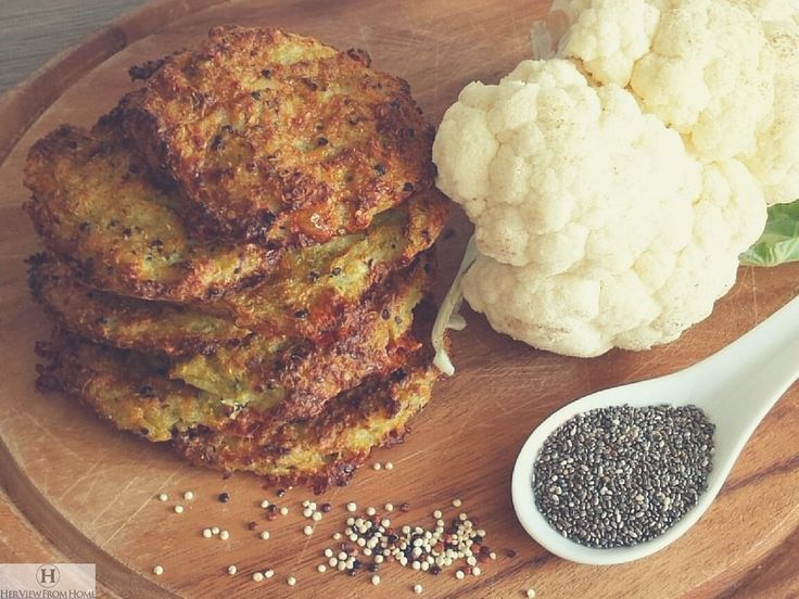 Her View from Home recipe blog post about Baked Quinoa Chia Cauliflower Cheese Patties.