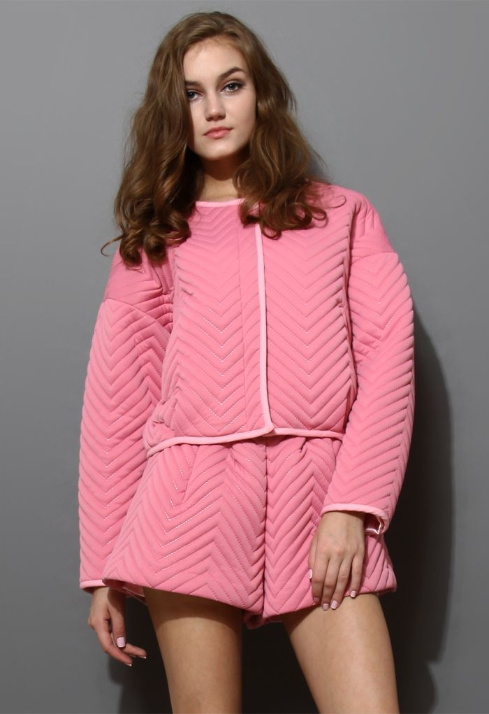 Zig Zag Quilted Pink Jacket and Short Set