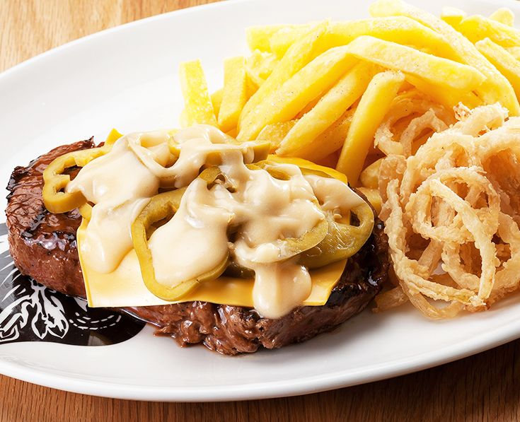Jalapeno Steak: Rump or Sirloin, topped with a slice of melted cheese, jalapenos and cheese sauce. https://www.spur.co.za/menu/steaks/