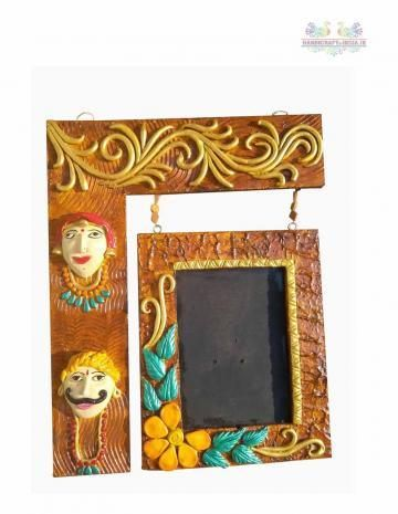 Celebrate the Birthday, share life events, congratulate those you love, or simply remind someone you're thinking of them with custom photo Frame. Made up of wood and the decoration on the photo frame is done by clay with different colors and artificial stones