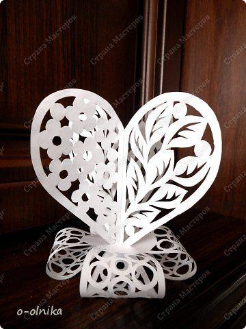 Открытка Валентинов день Вырезание КОГДА ДВА СЕРДЦА БЬЮТСЯ ВМЕСТЕ вырезалка Бумага фото 1