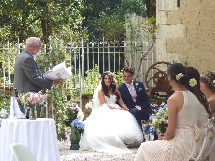 A courtyard wedding at Chateau de Lartigolle, in the Gers France. Photograph by Cherry Thatcher.