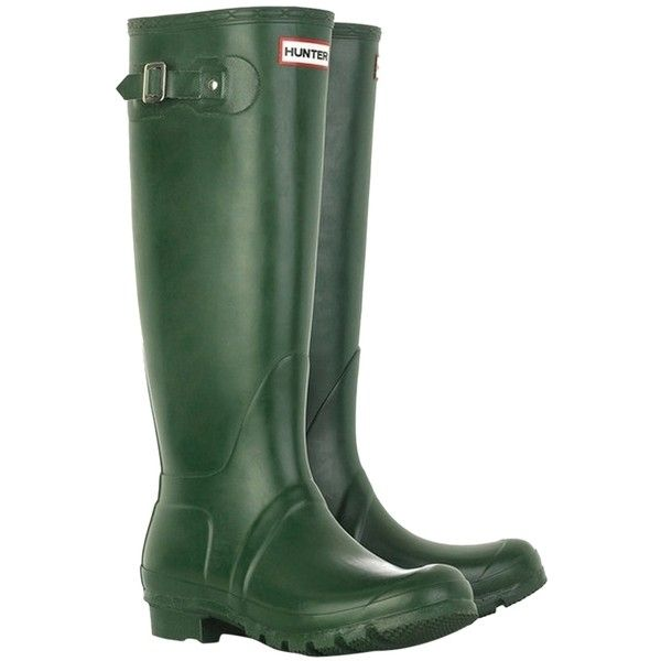 Pre-owned Hunter Tall Wellington Green Boots ($135) ❤ liked on Polyvore