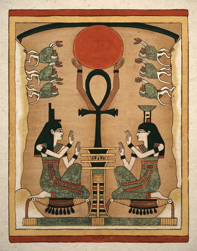 Ancient Egyptian Goddess Isis and Nephthys