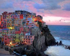 Cinque Terre as the sun sets. www.SimpleTravelDeals.com