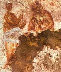The oldest known image of the Virgin Mary, located in the Cacomb of Priscilla on the Via Salaria in Rome. circa 150 CE