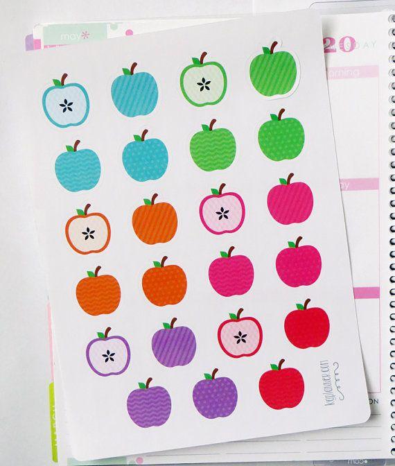 23 Patterned Apple Stickers for Erin Condren Planner by KGPlanner
