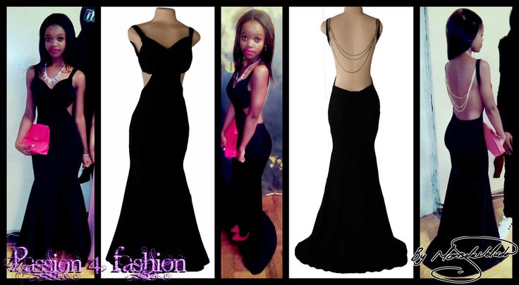 Black sexy soft mermaid matric dance dress witha low open back, sweetheart neckline, side tummy opening with a train. Gold hanging chains for back detail.