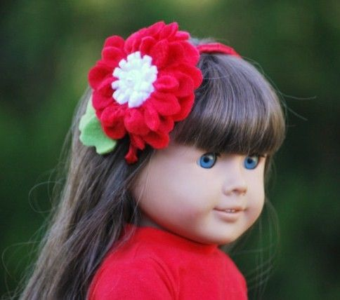 My American Girl Doll & Me Headbands / Hair Clips. by sofisticata http://sofisticata.etsy.com RED & White Handmade Matching Flowers! Set of 2! Custom made colors!! :)