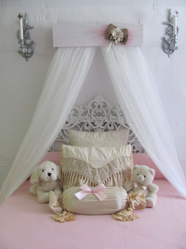 Shabby Chic Princess Bed Crown Canopy Crib Baby Nursery Decor Princess Girls Bedroom Free White Curtains Vintage Inspired Chalk Paint