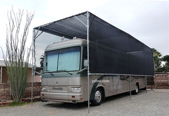 "RV Canopy with Black Mesh Tarp and 1 7/8"" Canopy Fittings"