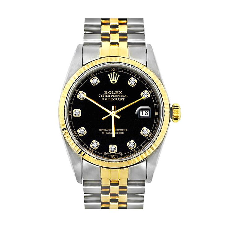 This incredible Two Tone Rolex Datejust Mens Custom Diamond Watch 18K Gold & Stainless Steel features 0.1 carats of sparkling round cut genuine diamonds, a brushed stainless steel case and a stainless steel and 18k yellow gold band and bezel. This Rolex Diamond Watch for Men showcases a classic black dial and a date display at the 3 o'clock position. Please note: this custom Rolex diamond watch is pre-owned, in Like New condition and comes with a full year warranty from ItsHot.com.