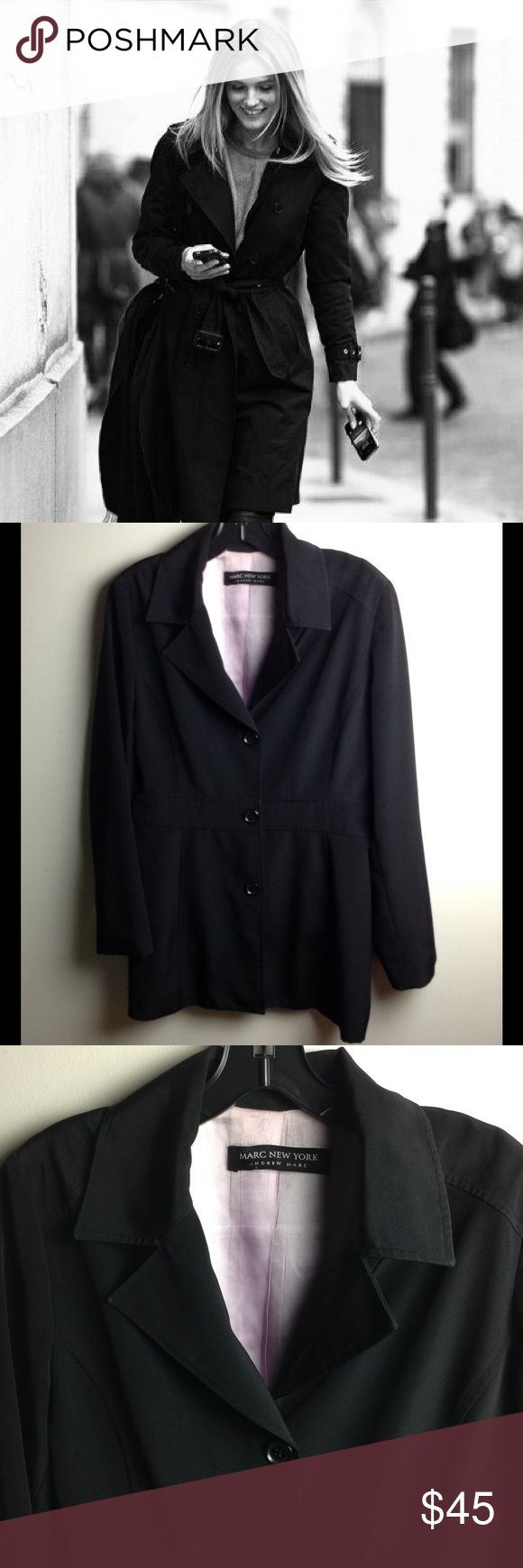 """⚜ Andrew Marc ⚜ Black Coat Stylish & Classy Button Up Black Rain Coat with Lavender Lining ⚜ Approximate Measurements: Length 31"""", Bust 41"""", Waist 36 ⚜ Good Condition ( Pictures 2-7 Depict Actual Coat for Sale) Andrew Marc Jackets & Coats"""