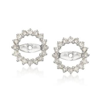 Diamond Earring Jackets In White Gold. Earring jackets brightened by diamonds dress up your earring studs with a pretty circle of sparkle! >> Click on these earring jackets for more styles at Ross-Simons.